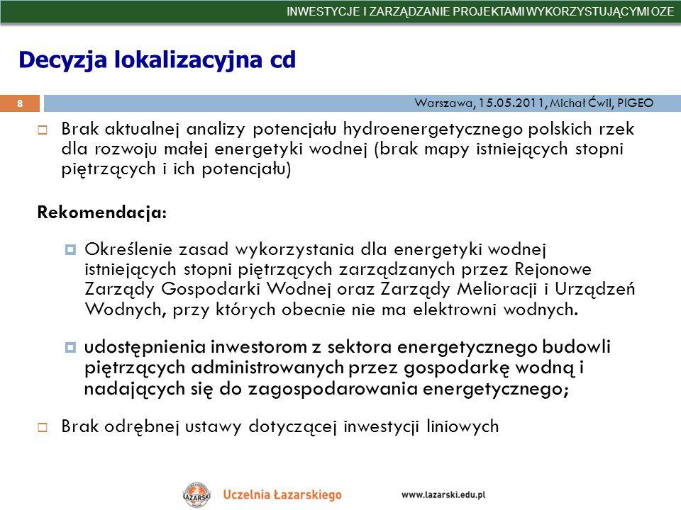 Decyzja lokalizacyjna cd Brak aktualnej analizy potencjału hydroenergetycznego polskich rzek dla rozwoju małej energetyki wodnej (brak mapy istniejący