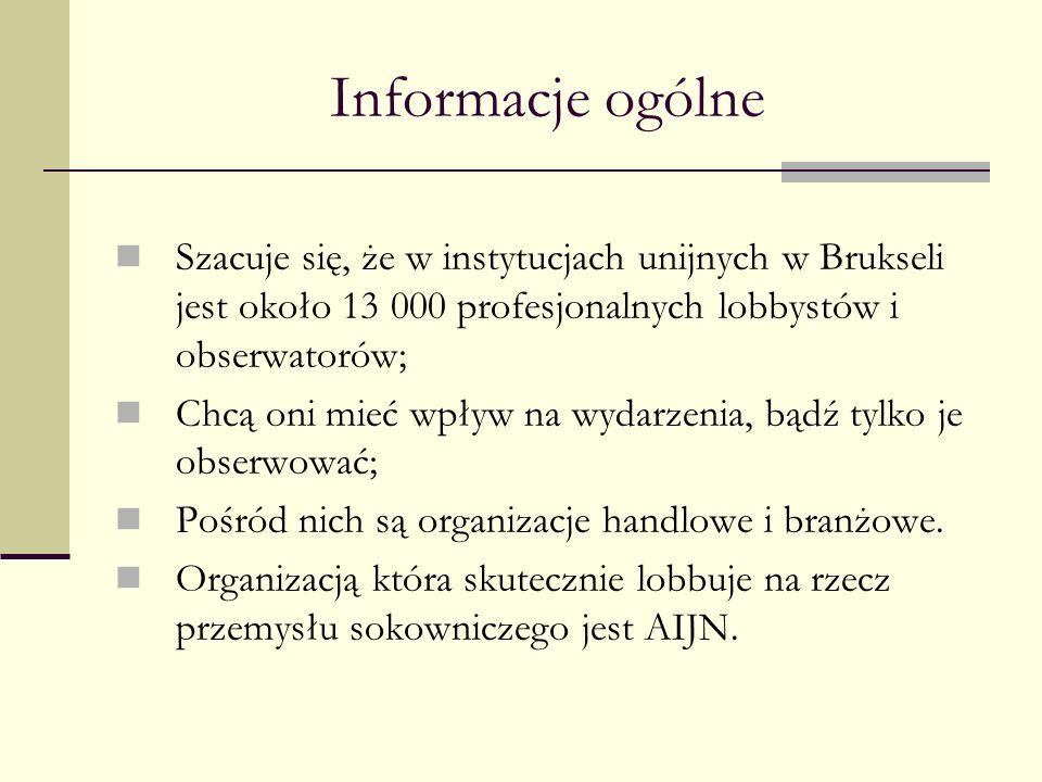 Informacje ogólne Szacuje się, że w instytucjach unijnych w Brukseli jest około 13 000 profesjonalnych lobbystów i obserwatorów; Chcą oni mieć wpływ n