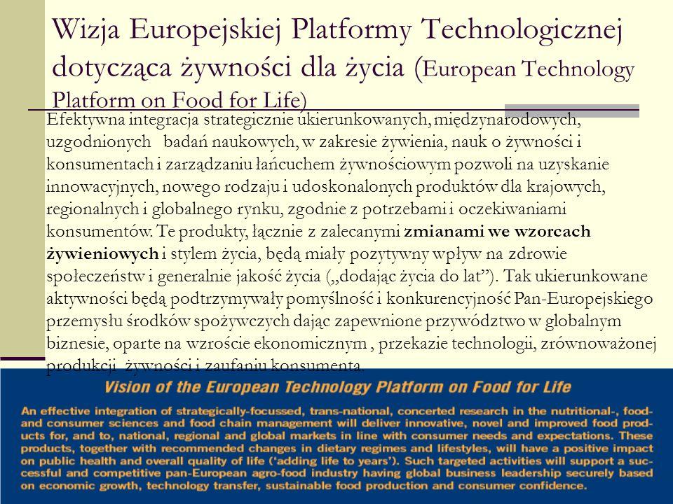 Wizja Europejskiej Platformy Technologicznej dotycząca żywności dla życia ( European Technology Platform on Food for Life) Efektywna integracja strate