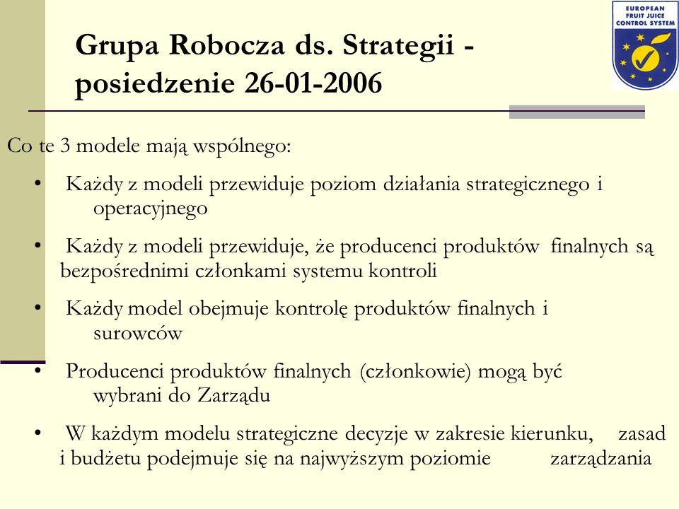 Grupa Robocza ds. Strategii - posiedzenie 26-01-2006 Co te 3 modele mają wspólnego: Każdy z modeli przewiduje poziom działania strategicznego i operac