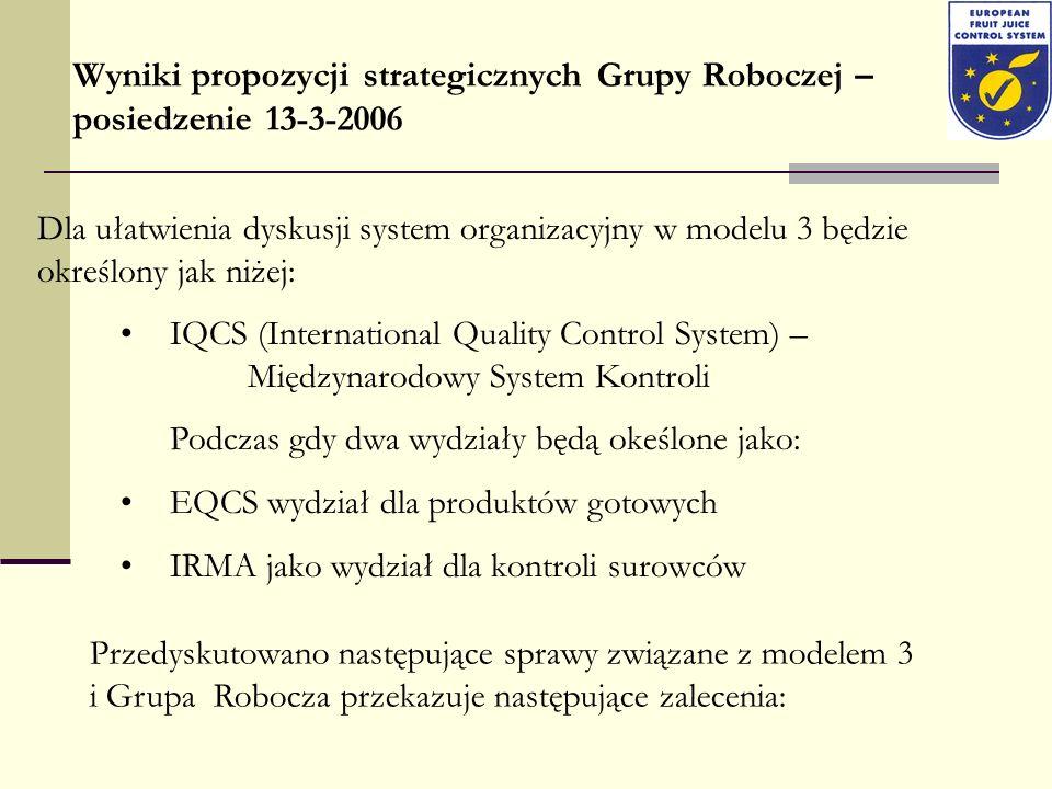Wyniki propozycji strategicznych Grupy Roboczej – posiedzenie 13-3-2006 Dla ułatwienia dyskusji system organizacyjny w modelu 3 będzie określony jak n