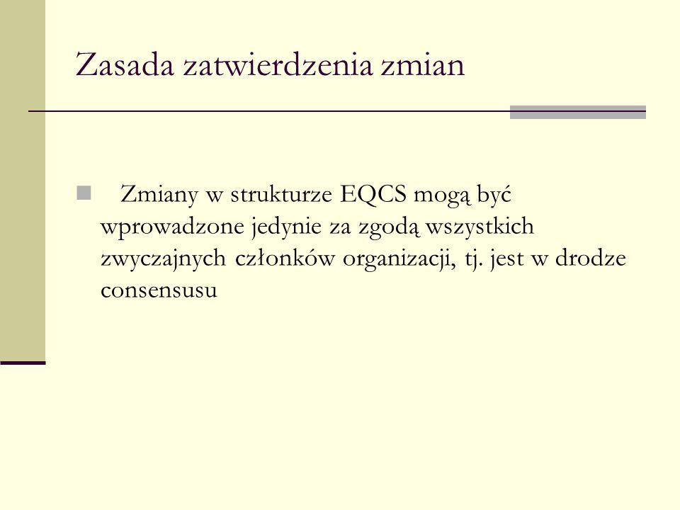 Zasada zatwierdzenia zmian Zmiany w strukturze EQCS mogą być wprowadzone jedynie za zgodą wszystkich zwyczajnych członków organizacji, tj. jest w drod