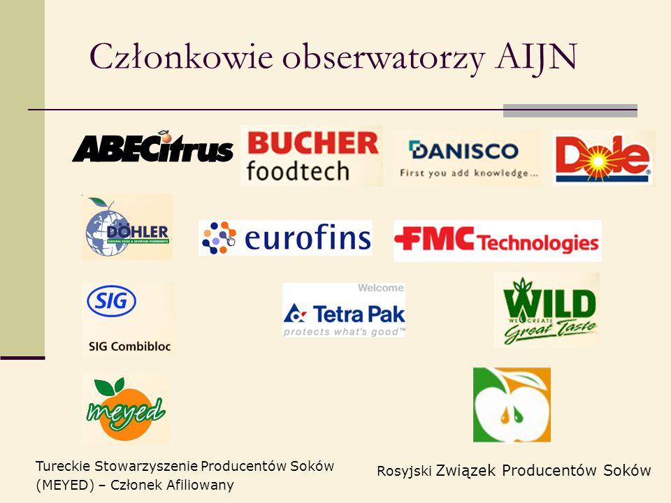 Członkowie obserwatorzy AIJN Tureckie Stowarzyszenie Producentów Soków (MEYED) – Członek Afiliowany Rosyjski Związek Producentów Soków