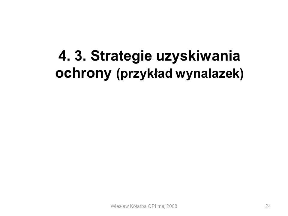 Wiesław Kotarba OPI maj 200824 4. 3. Strategie uzyskiwania ochrony (przykład wynalazek)