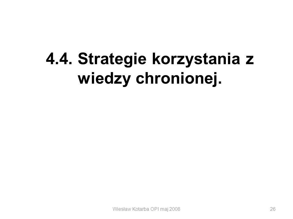 Wiesław Kotarba OPI maj 200826 4.4. Strategie korzystania z wiedzy chronionej.