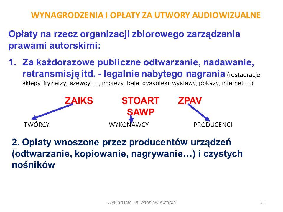 Wykład lato_08 Wiesław Kotarba31 WYNAGRODZENIA I OPŁATY ZA UTWORY AUDIOWIZUALNE Opłaty na rzecz organizacji zbiorowego zarządzania prawami autorskimi:
