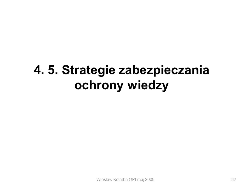 Wiesław Kotarba OPI maj 200832 4. 5. Strategie zabezpieczania ochrony wiedzy