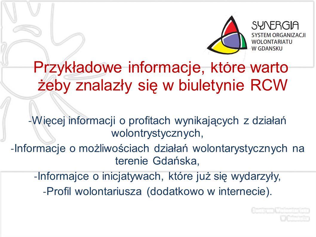 Przykładowe informacje, które warto żeby znalazły się w biuletynie RCW - Więcej informacji o profitach wynikających z działań wolontrystycznych, - Inf