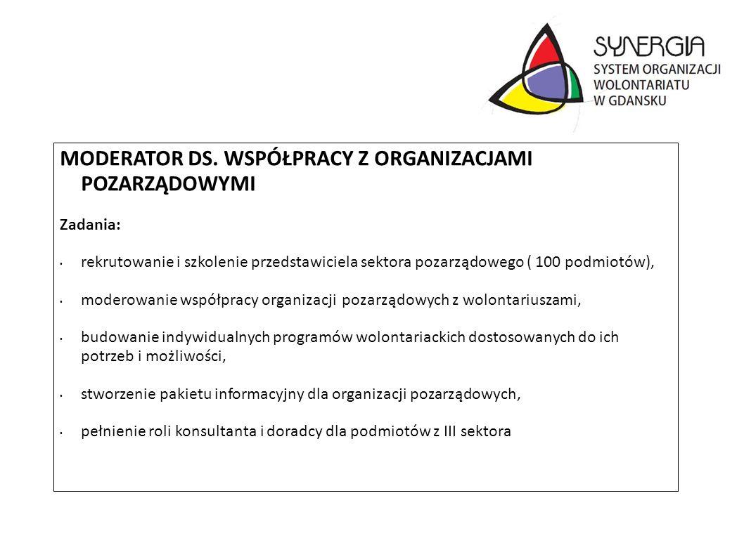 MODERATOR DS. WSPÓŁPRACY Z ORGANIZACJAMI POZARZĄDOWYMI Zadania: rekrutowanie i szkolenie przedstawiciela sektora pozarządowego ( 100 podmiotów), moder