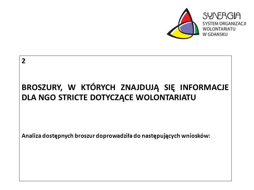 2 BROSZURY, W KTÓRYCH ZNAJDUJĄ SIĘ INFORMACJE DLA NGO STRICTE DOTYCZĄCE WOLONTARIATU Analiza dostępnych broszur doprowadziła do następujących wniosków