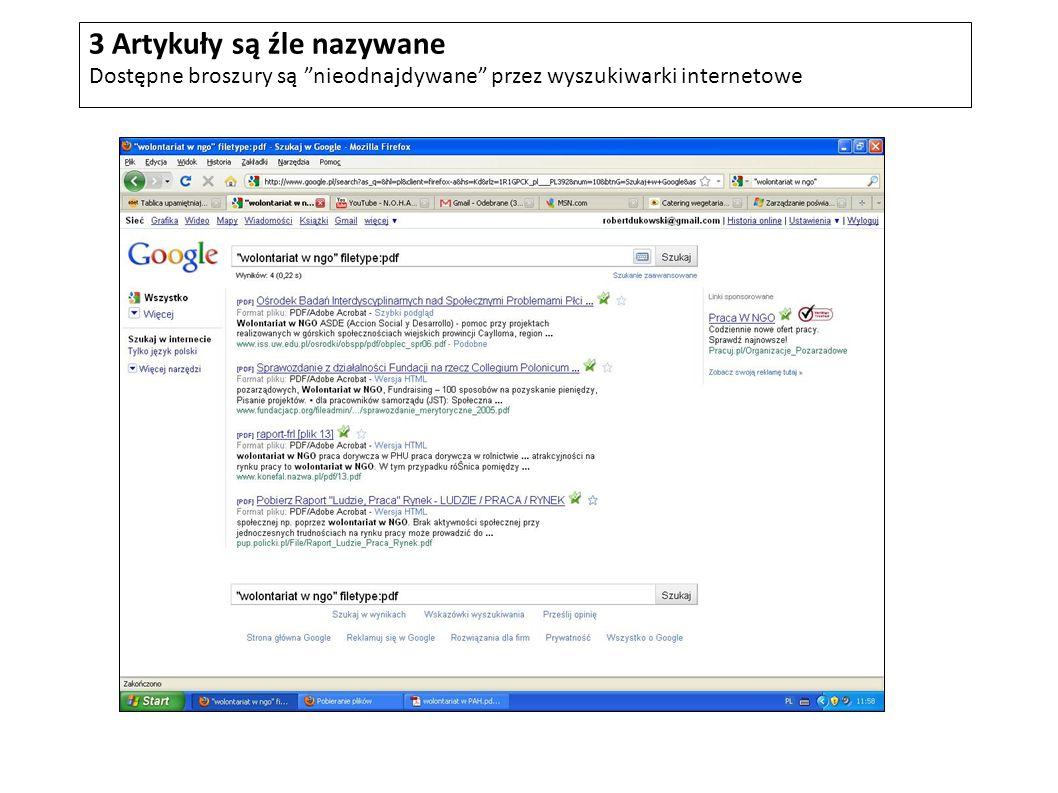 3 Artykuły są źle nazywane Dostępne broszury są nieodnajdywane przez wyszukiwarki internetowe