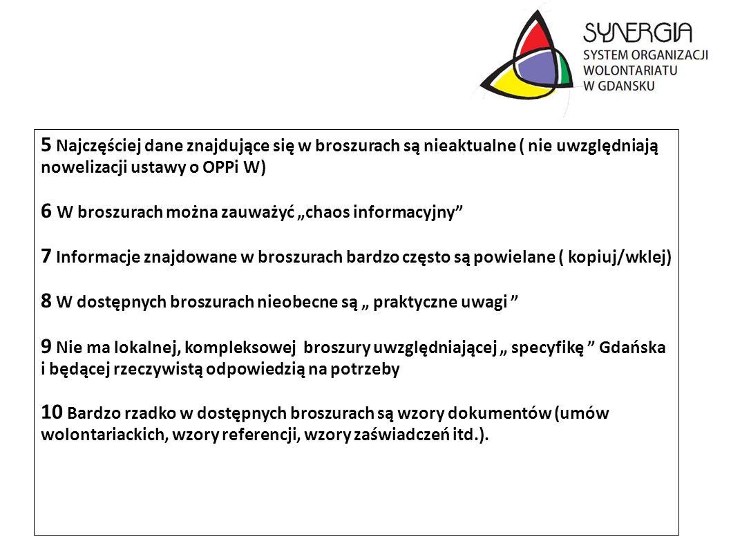 5 Najczęściej dane znajdujące się w broszurach są nieaktualne ( nie uwzględniają nowelizacji ustawy o OPPi W) 6 W broszurach można zauważyć chaos info