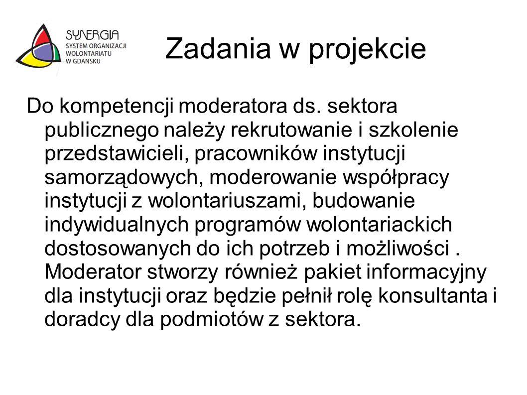Zadania w projekcie Do kompetencji moderatora ds. sektora publicznego należy rekrutowanie i szkolenie przedstawicieli, pracowników instytucji samorząd