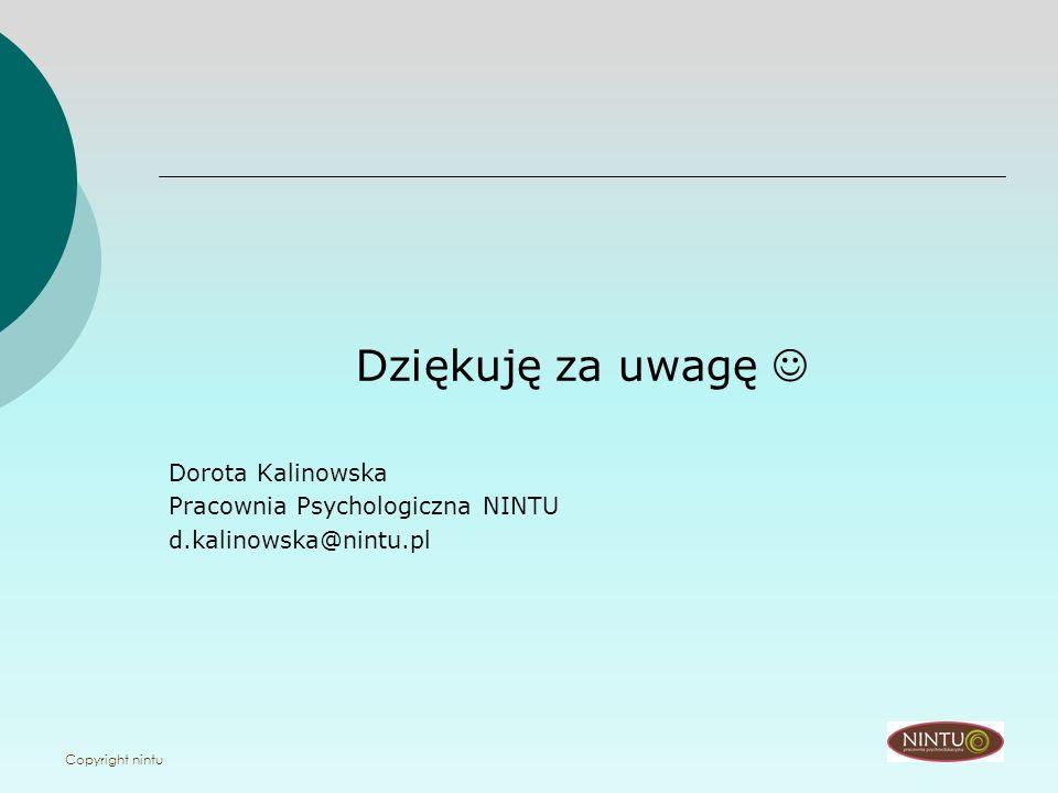Copyright nintu Dziękuję za uwagę Dorota Kalinowska Pracownia Psychologiczna NINTU d.kalinowska@nintu.pl