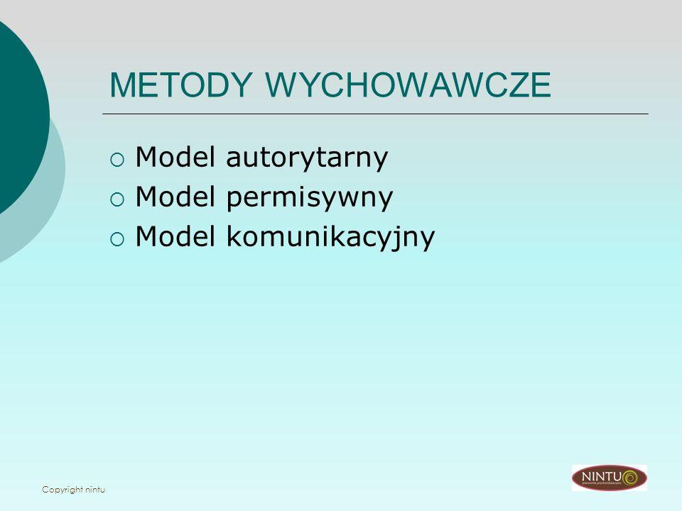 Copyright nintu METODY WYCHOWAWCZE Model autorytarny Model permisywny Model komunikacyjny