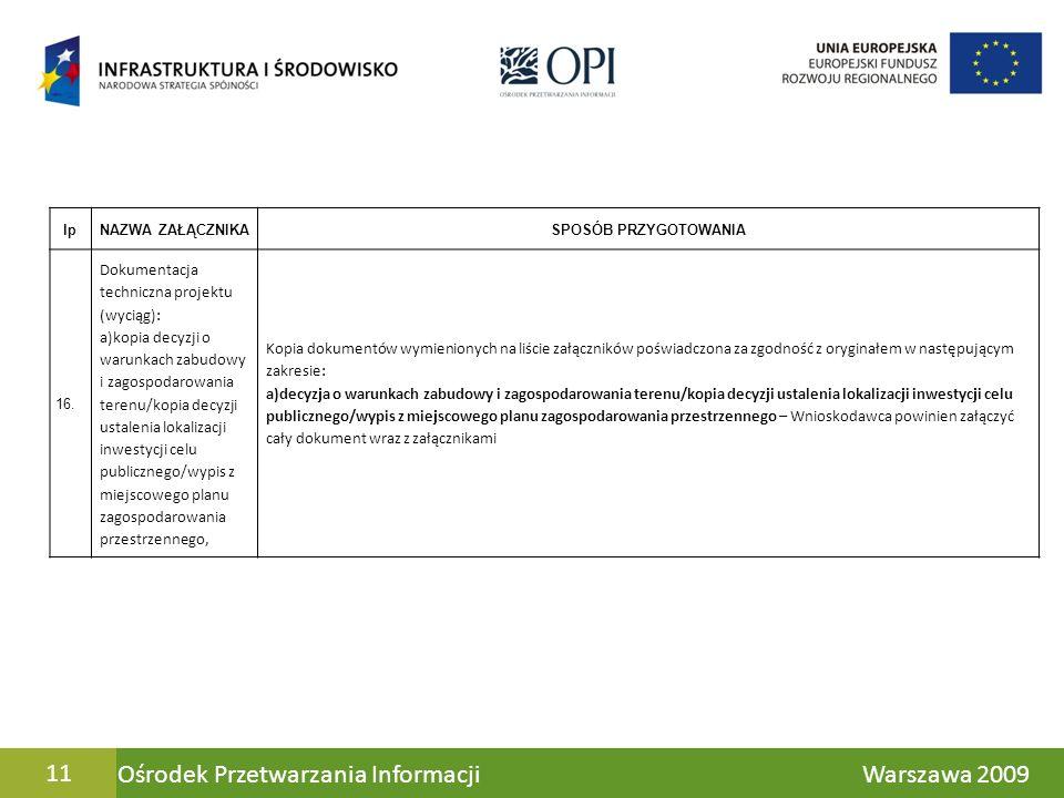 Ośrodek Przetwarzania Informacji Warszawa 200911 lpNAZWA ZAŁĄCZNIKASPOSÓB PRZYGOTOWANIA 16. Dokumentacja techniczna projektu (wyciąg): a)kopia decyzji