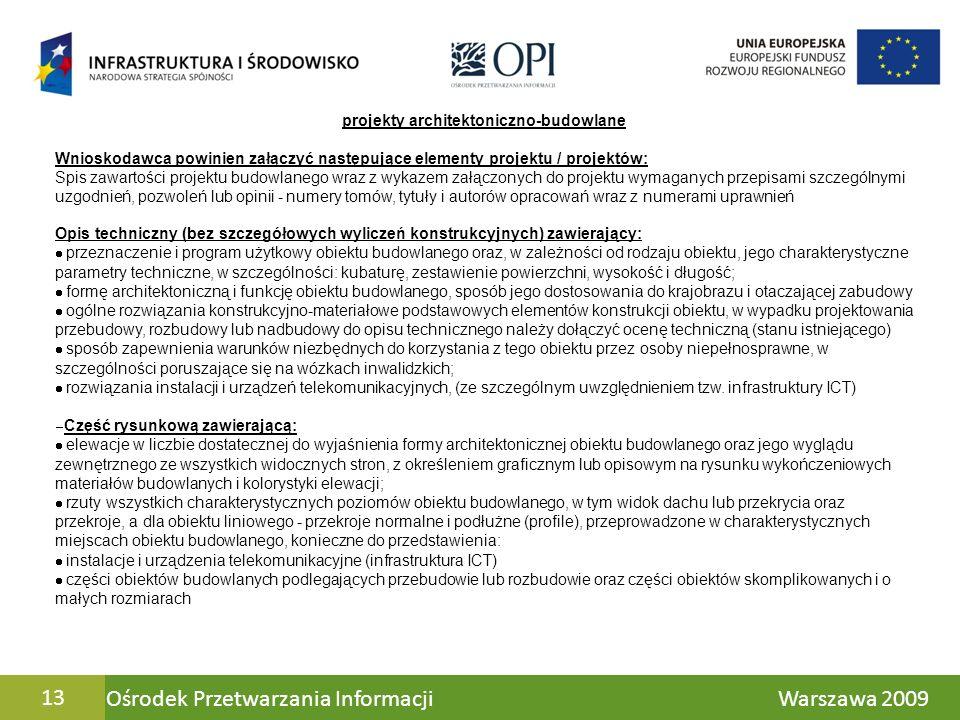 Ośrodek Przetwarzania Informacji Warszawa 200913 projekty architektoniczno-budowlane Wnioskodawca powinien załączyć następujące elementy projektu / pr
