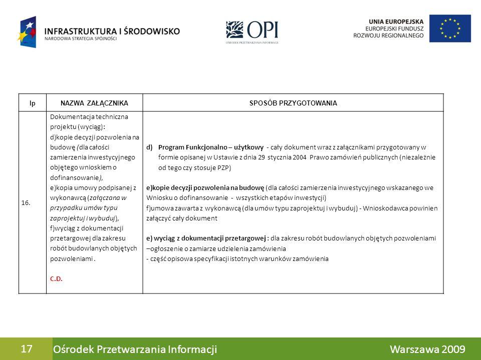 Ośrodek Przetwarzania Informacji Warszawa 200917 lpNAZWA ZAŁĄCZNIKASPOSÓB PRZYGOTOWANIA 16. Dokumentacja techniczna projektu (wyciąg): d)kopie decyzji