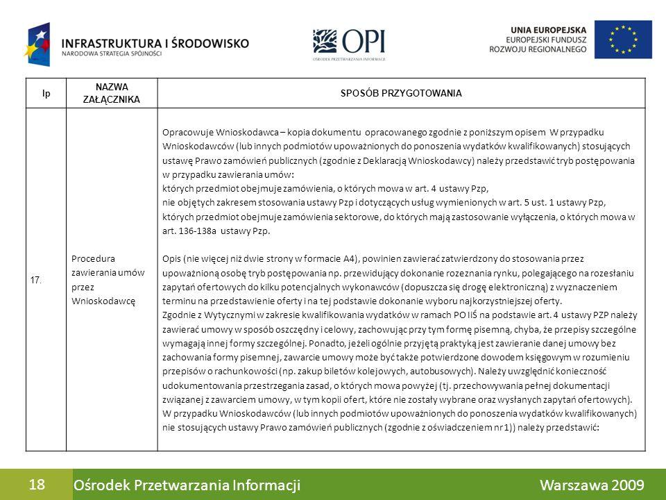 Ośrodek Przetwarzania Informacji Warszawa 200918 lp NAZWA ZAŁĄCZNIKA SPOSÓB PRZYGOTOWANIA 17. Procedura zawierania umów przez Wnioskodawcę Opracowuje