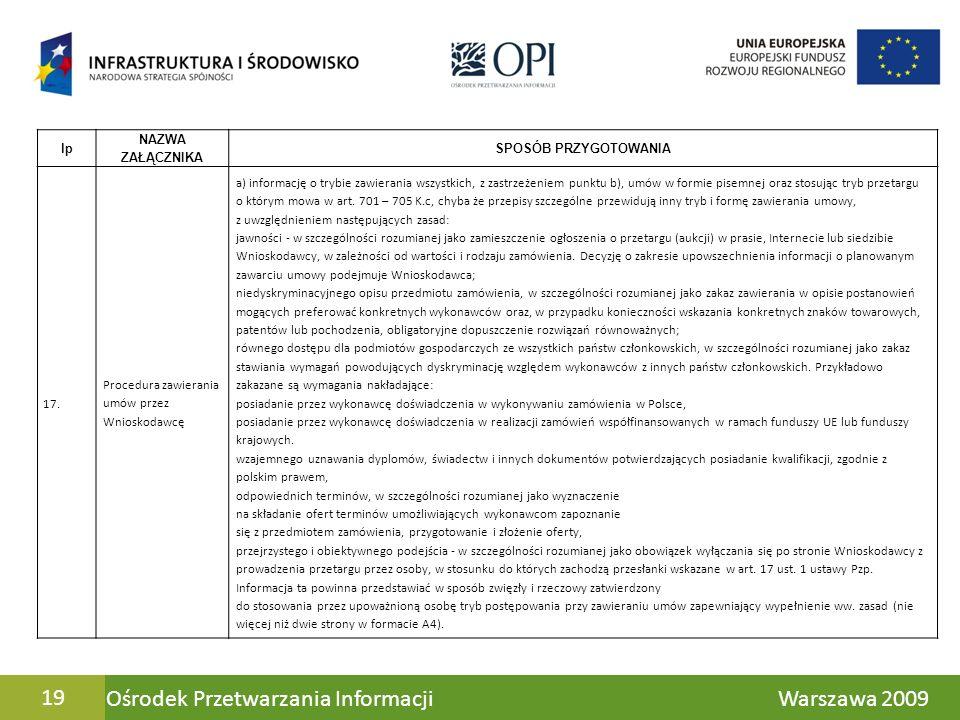 Ośrodek Przetwarzania Informacji Warszawa 200919 lp NAZWA ZAŁĄCZNIKA SPOSÓB PRZYGOTOWANIA 17. Procedura zawierania umów przez Wnioskodawcę a) informac