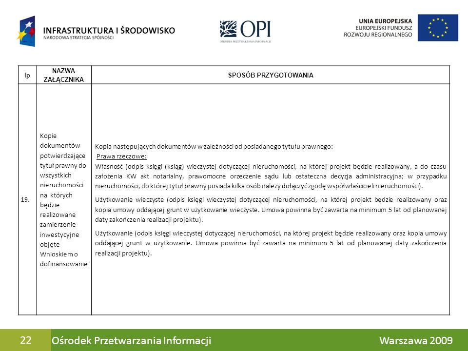 Ośrodek Przetwarzania Informacji Warszawa 200922 lp NAZWA ZAŁĄCZNIKA SPOSÓB PRZYGOTOWANIA 19. Kopie dokumentów potwierdzające tytuł prawny do wszystki