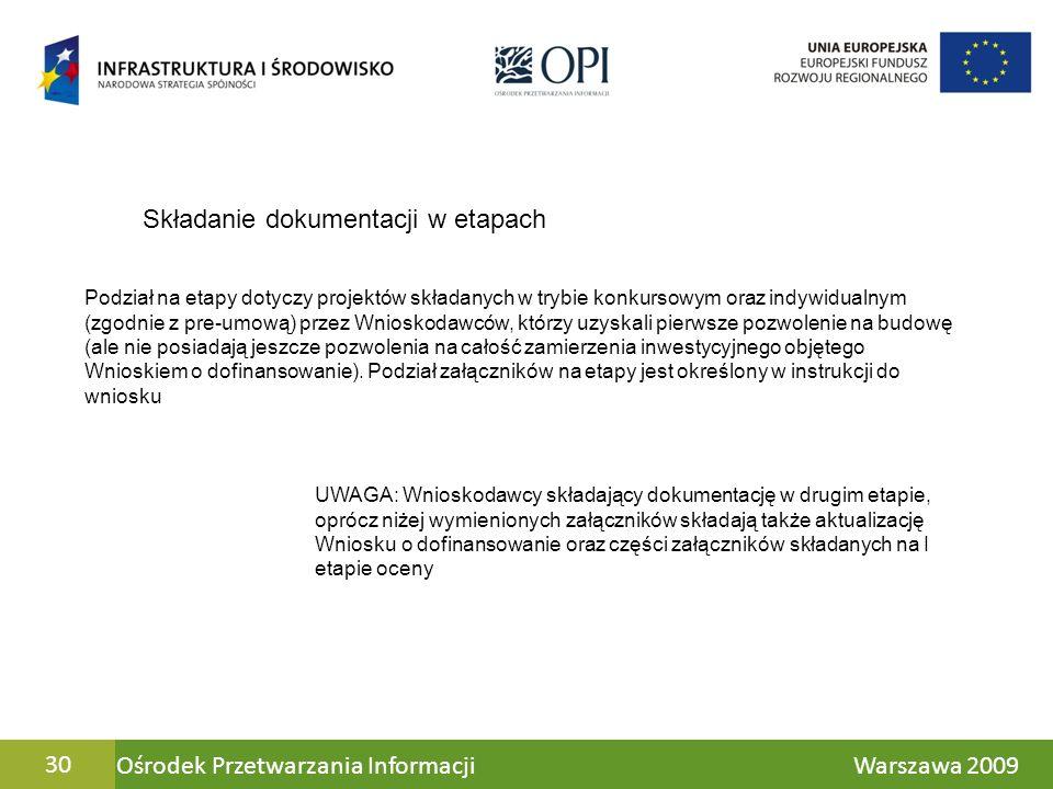Ośrodek Przetwarzania Informacji Warszawa 200930 Składanie dokumentacji w etapach Podział na etapy dotyczy projektów składanych w trybie konkursowym o