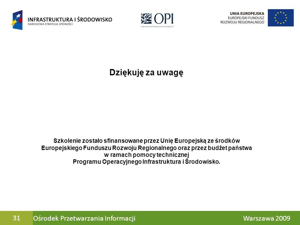 Ośrodek Przetwarzania Informacji Warszawa 200931 Dziękuję za uwagę Szkolenie zostało sfinansowane przez Unię Europejską ze środków Europejskiego Fundu