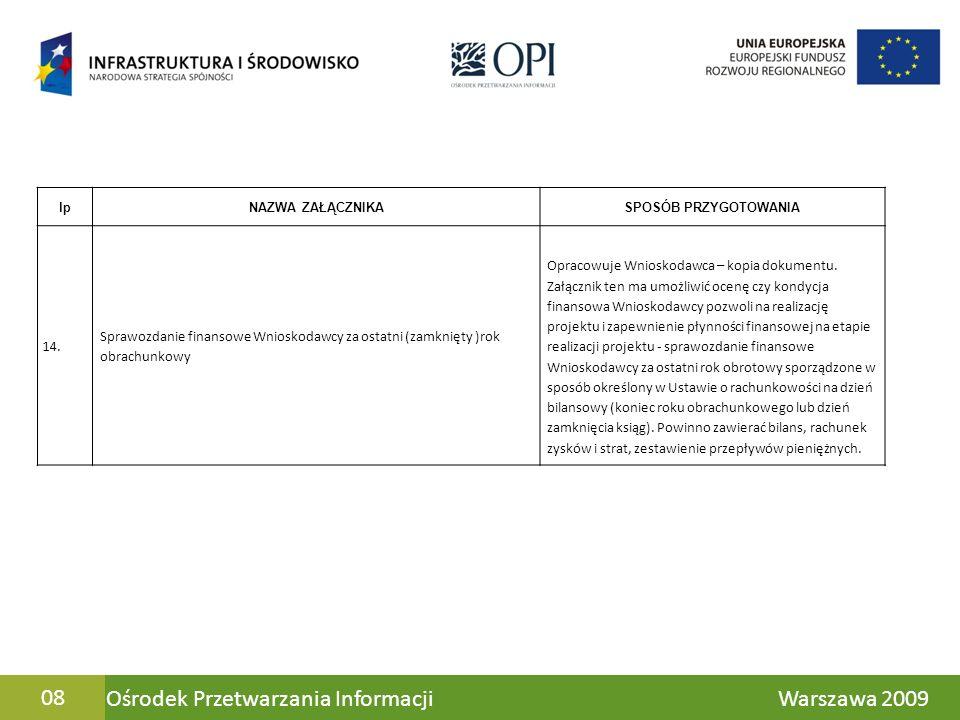 Ośrodek Przetwarzania Informacji Warszawa 200908 lpNAZWA ZAŁĄCZNIKASPOSÓB PRZYGOTOWANIA 14. Sprawozdanie finansowe Wnioskodawcy za ostatni (zamknięty
