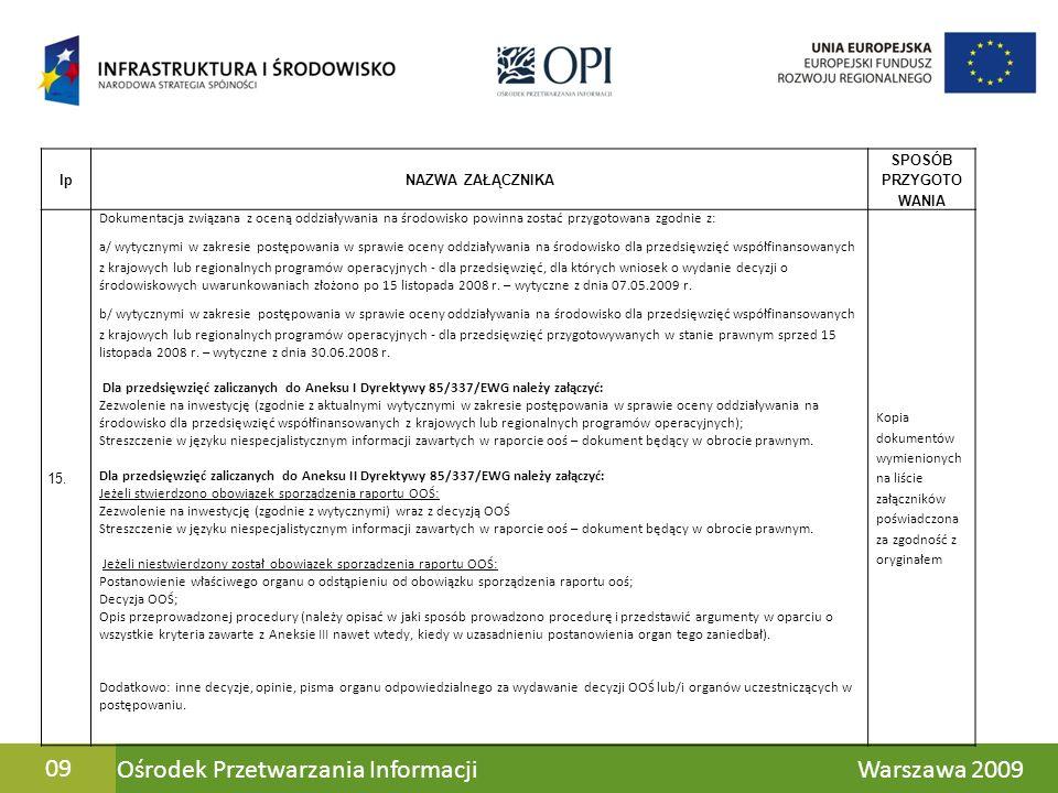 Ośrodek Przetwarzania Informacji Warszawa 200909 lpNAZWA ZAŁĄCZNIKA SPOSÓB PRZYGOTO WANIA 15. Dokumentacja związana z oceną oddziaływania na środowisk