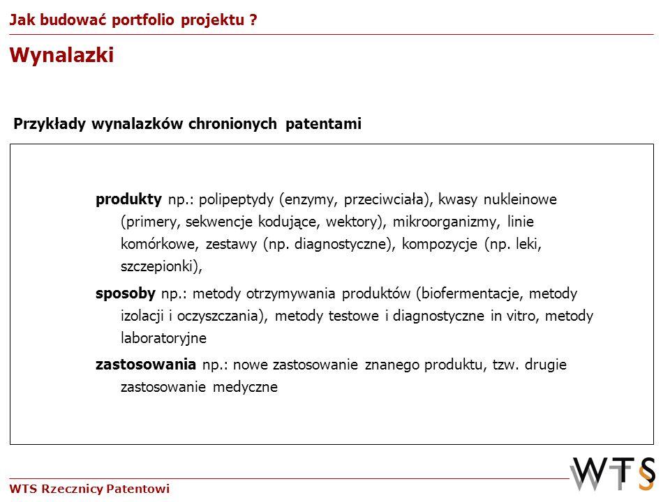 WTS Rzecznicy Patentowi produkty np.: polipeptydy (enzymy, przeciwciała), kwasy nukleinowe (primery, sekwencje kodujące, wektory), mikroorganizmy, lin