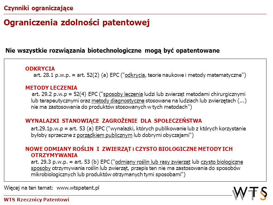 WTS Rzecznicy Patentowi ODKRYCIA art. 28.1 p.w.p. = art. 52(2) (a) EPC (