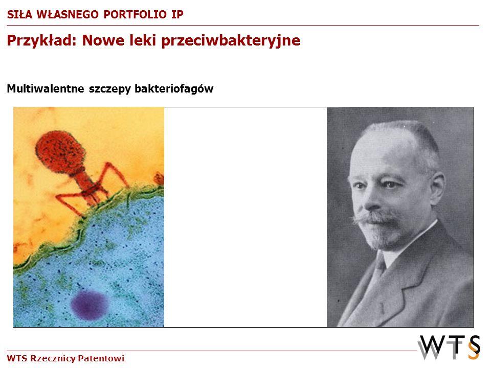 WTS Rzecznicy Patentowi Przykład: Nowe leki przeciwbakteryjne Multiwalentne szczepy bakteriofagów SIŁA WŁASNEGO PORTFOLIO IP