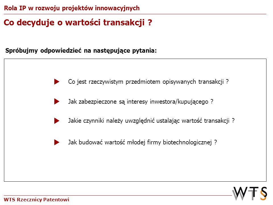 WTS Rzecznicy Patentowi Co decyduje o wartości transakcji ? Spróbujmy odpowiedzieć na następujące pytania: Rola IP w rozwoju projektów innowacyjnych J