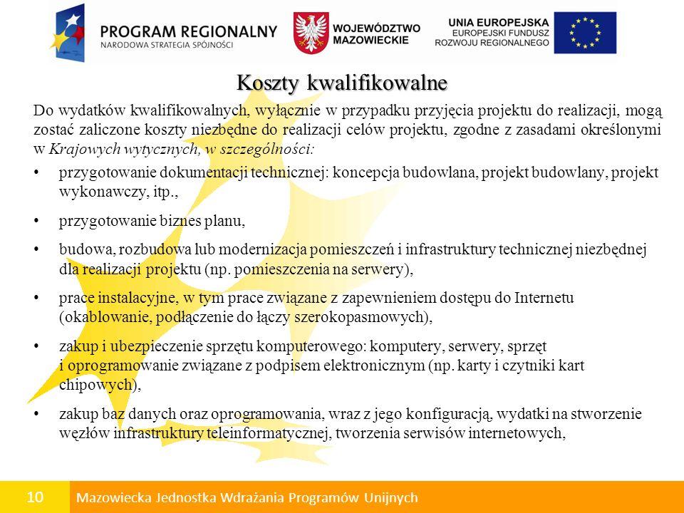 11 Mazowiecka Jednostka Wdrażania Programów Unijnych zapewnienie bezpieczeństwa przesyłania danych (np.