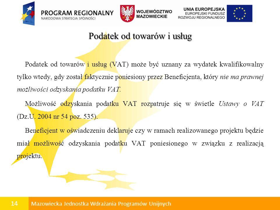 15 Mazowiecka Jednostka Wdrażania Programów Unijnych Pomoc publiczna w RPO WM 2007-2013 Regionalna Pomoc Inwestycyjna Rozporządzenia Ministra Rozwoju Regionalnego z dnia 11 października 2007 r.