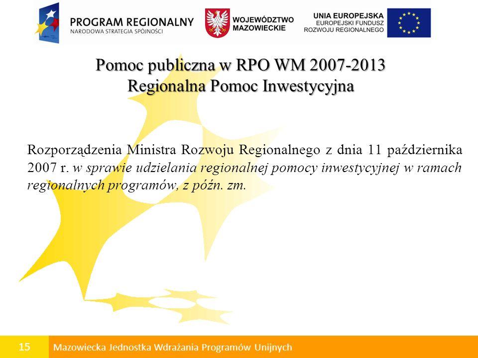 16 Mazowiecka Jednostka Wdrażania Programów Unijnych Regionalna Pomoc Inwestycyjna Mapa pomocy regionalnej Warszawa: 30% woj.