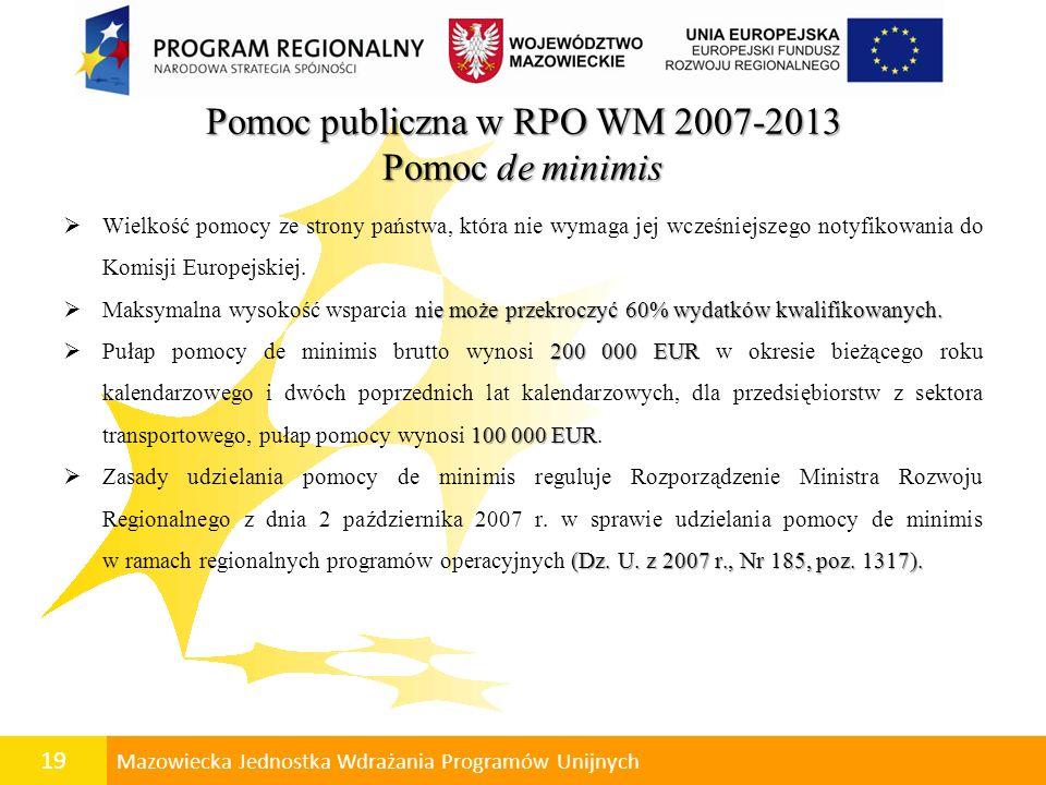 20 Mazowiecka Jednostka Wdrażania Programów Unijnych Pomoc de minimis gospodarczegospołecznego Pomoc ma na celu wspieranie rozwoju gospodarczego i społecznego regionu.
