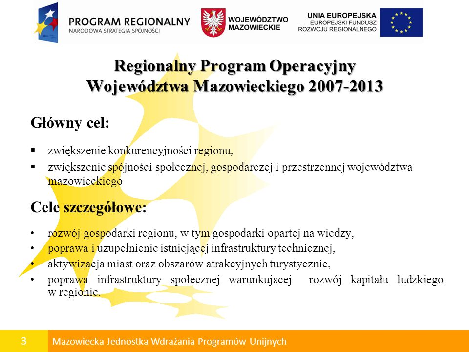 4 Mazowiecka Jednostka Wdrażania Programów Unijnych RPO WM 2007-2013 Priorytet I: Tworzenie warunków dla rozwoju potencjału innowacyjnego i przedsiębiorczości na Mazowszu.