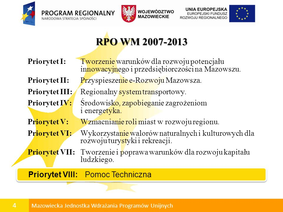 5 Mazowiecka Jednostka Wdrażania Programów Unijnych Podział środków EFRR – 1 831 496 698 euro w latach 2007 - 2013
