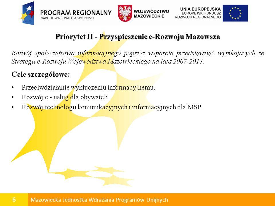 7 Mazowiecka Jednostka Wdrażania Programów Unijnych Priorytet I - Tworzenie warunków dla rozwoju potencjału innowacyjnego i przedsiębiorczości na Mazowszu Działanie 2.3 Technologie komunikacyjne i informacyjne dla MSP Celem Działania jest rozwój społeczeństwa informacyjnego poprzez rozwój technologii informacyjnych i komunikacyjnych w MSP.