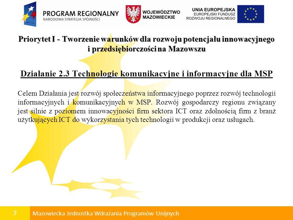 8 Mazowiecka Jednostka Wdrażania Programów Unijnych Przykładowe rodzaje projektów zastosowania i wykorzystania technologii informatycznych w przedsiębiorstwie, w tym: zintegrowanych systemów do zarządzania przedsiębiorstwem klasy ERP (Enterprise Resource Planning); systemów wspomagających zarządzanie relacjami z klientem klasy CRM (Customer Relationship Management).