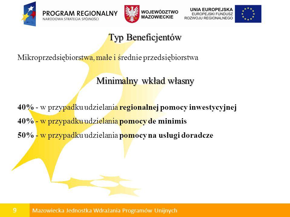 10 Mazowiecka Jednostka Wdrażania Programów Unijnych Koszty kwalifikowalne Do wydatków kwalifikowalnych, wyłącznie w przypadku przyjęcia projektu do realizacji, mogą zostać zaliczone koszty niezbędne do realizacji celów projektu, zgodne z zasadami określonymi w Krajowych wytycznych, w szczególności: przygotowanie dokumentacji technicznej: koncepcja budowlana, projekt budowlany, projekt wykonawczy, itp., przygotowanie biznes planu, budowa, rozbudowa lub modernizacja pomieszczeń i infrastruktury technicznej niezbędnej dla realizacji projektu (np.