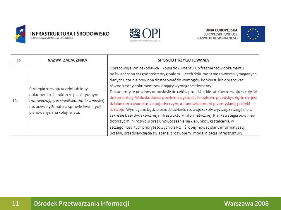 Ośrodek Przetwarzania Informacji Warszawa 200811 lpNAZWA ZAŁĄCZNIKASPOSÓB PRZYGOTOWANIA 10. Strategia rozwoju uczelni lub inny dokument o charakterze