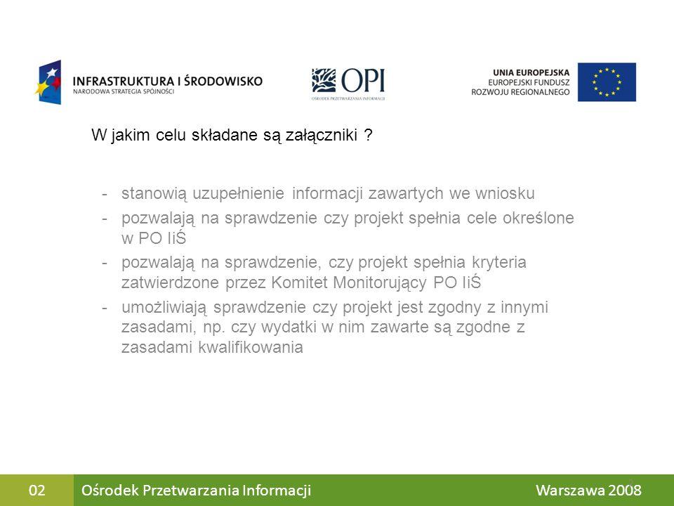 Jk Ośrodek Przetwarzania Informacji Warszawa 200802 W jakim celu składane są załączniki ? -stanowią uzupełnienie informacji zawartych we wniosku -pozw