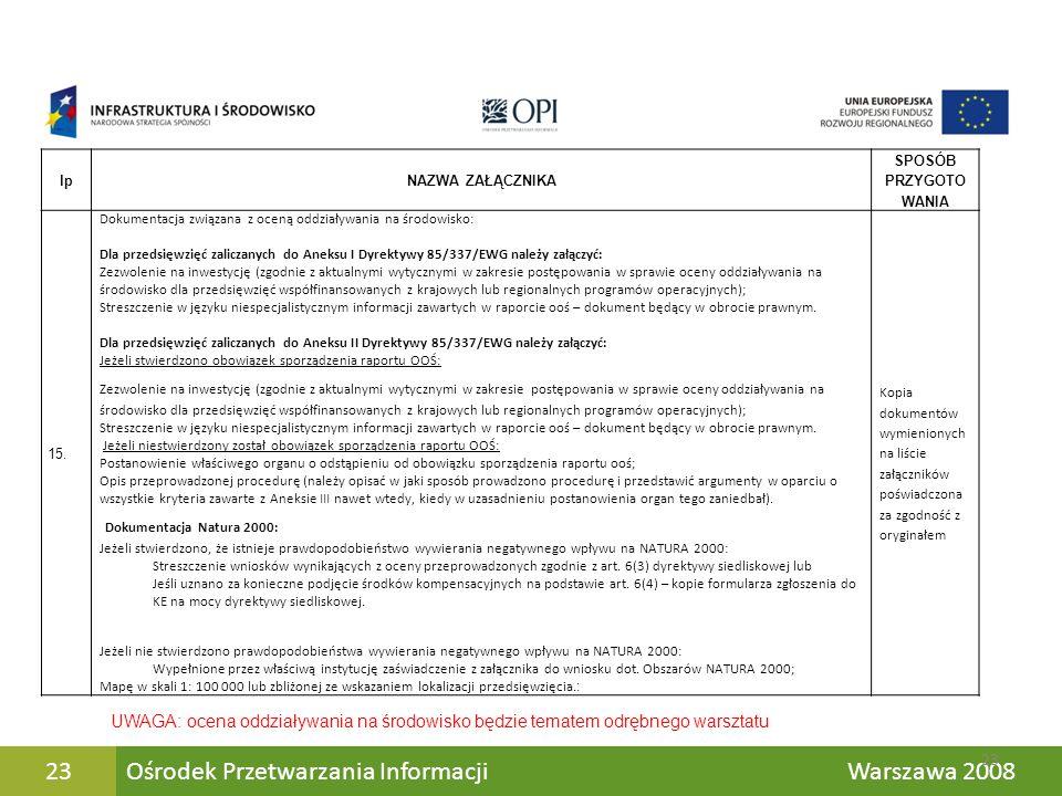 Ośrodek Przetwarzania Informacji Warszawa 200823 lpNAZWA ZAŁĄCZNIKA SPOSÓB PRZYGOTO WANIA 15. Dokumentacja związana z oceną oddziaływania na środowisk