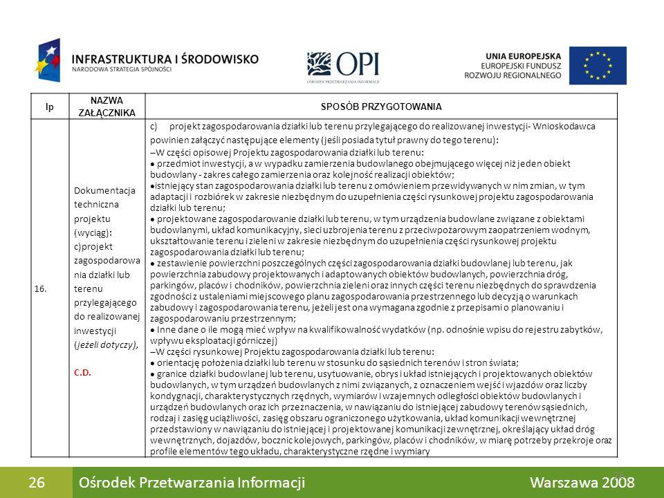 Ośrodek Przetwarzania Informacji Warszawa 200826 lp NAZWA ZAŁĄCZNIKA SPOSÓB PRZYGOTOWANIA 16. Dokumentacja techniczna projektu (wyciąg): c)projekt zag