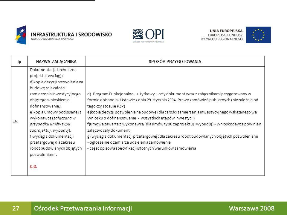 Ośrodek Przetwarzania Informacji Warszawa 200827 lpNAZWA ZAŁĄCZNIKASPOSÓB PRZYGOTOWANIA 16. Dokumentacja techniczna projektu (wyciąg): d)kopie decyzji