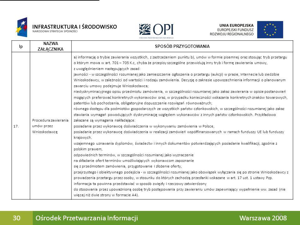 Ośrodek Przetwarzania Informacji Warszawa 200830 lp NAZWA ZAŁĄCZNIKA SPOSÓB PRZYGOTOWANIA 17. Procedura zawierania umów przez Wnioskodawcę a) informac