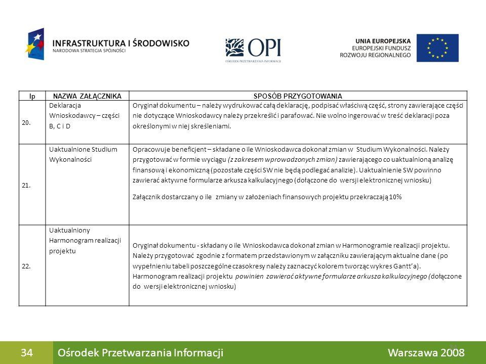Ośrodek Przetwarzania Informacji Warszawa 200834 lpNAZWA ZAŁĄCZNIKASPOSÓB PRZYGOTOWANIA 20. Deklaracja Wnioskodawcy – części B, C i D Oryginał dokumen