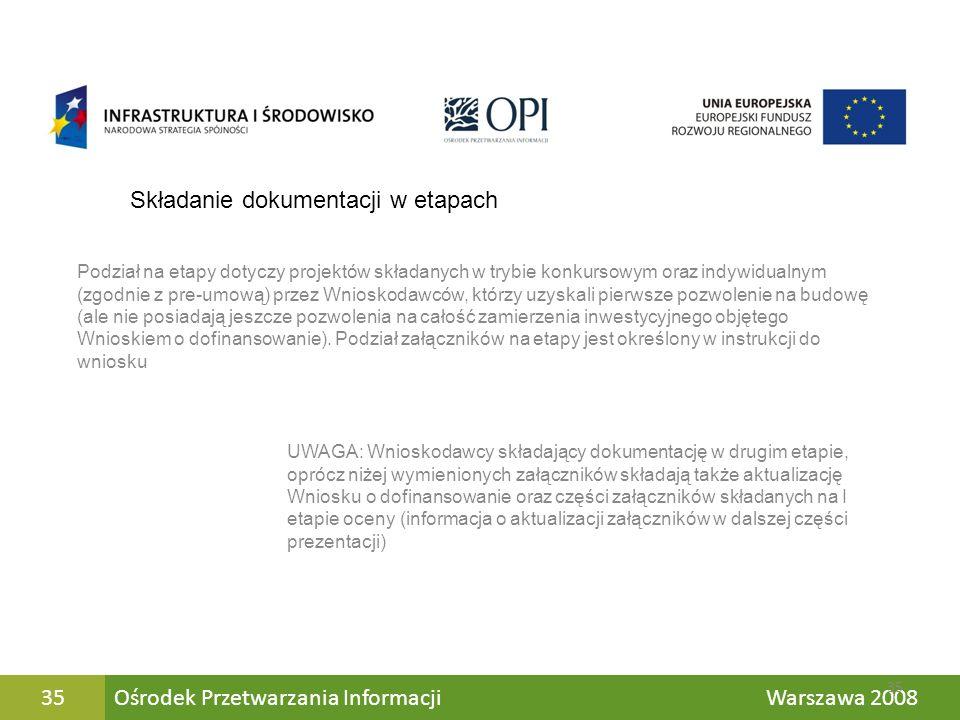 Ośrodek Przetwarzania Informacji Warszawa 200835 Składanie dokumentacji w etapach Podział na etapy dotyczy projektów składanych w trybie konkursowym o